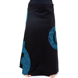 Vêtements Femme Jupes Fantazia Jupe longue romantique psychedelique heroine Noir et kaki