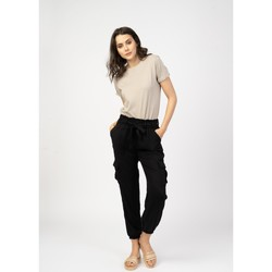 Vêtements Pantalons 5 poches Toxik3 Pantalon cargo fluide - Keira Noir