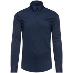 Vêtements Homme T-shirts manches longues Guess Logo Brodé Bleu