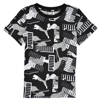 Vêtements Garçon T-shirts manches courtes Puma ALPHA AOP TEE Noir