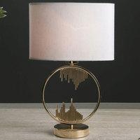 Maison & Déco Lampes à poser Retro Lampe de table Saida et Or et Beige Doré