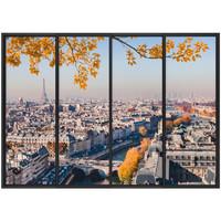 Maison & Déco Stickers Zen Et Ethnique Autocollant Mural Paris Trompe l'Oeil Gris