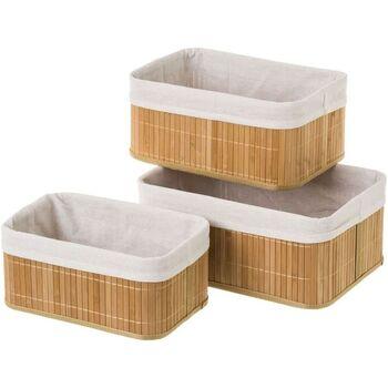 Maison & Déco Paniers, boites et corbeilles Zen Et Ethnique Lot de 3 boites de rangement en bambou Beige