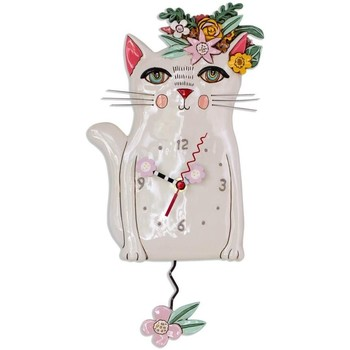 Maison & Déco Horloges Le Monde Des Animaux Pendule en forme Allen Chat blanc Blanc