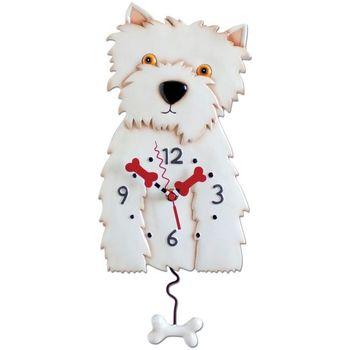 Maison & Déco Horloges Le Monde Des Animaux Pendule en forme Westie Blanc