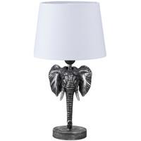 Maison & Déco Lampes à poser Le Monde Des Animaux Lampe de table Argent et blanche Tête d'Éléphant 45 cm Argenté