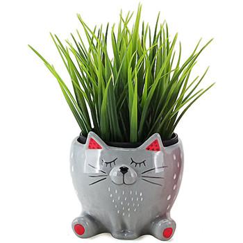 Maison & Déco Vases, caches pots d'intérieur Le Monde Des Animaux Cache Pot de Fleurs - Chat Gris Gris