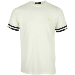 Vêtements Homme T-shirts manches courtes Fred Perry Abstract Cuff T-Shirt blanc