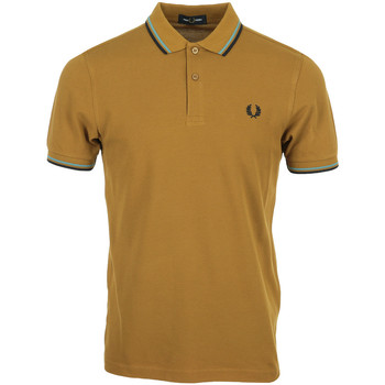 Vêtements Homme Polos manches courtes Fred Perry Twin Tipped Shirt marron
