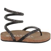 Chaussures Femme Sandales et Nu-pieds Strategia Sandale Entre Doigt Avec Strass Et Bride Montante Noir