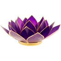 Maison & Déco Bougeoirs, photophores Zen Et Ethnique Fleur de Lotus Violet et argent 7 ème chakra Violet