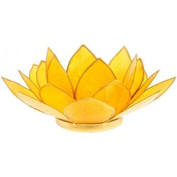 Maison & Déco Bougeoirs, photophores Zen Et Ethnique Porte Bougie Fleur de Lotus jaune et or 3 ème chakra Jaune
