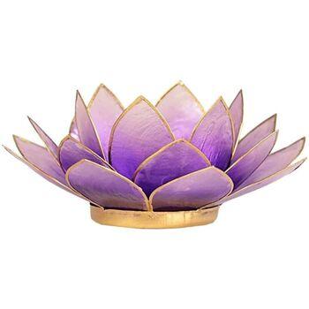 Maison & Déco Bougeoirs, photophores Zen Et Ethnique Porte Bougie Fleur de Lotus Violet et or Violet