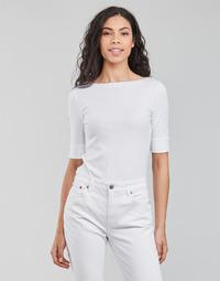 Vêtements Femme T-shirts manches longues Lauren Ralph Lauren JUDY-ELBOW SLEEVE-KNIT Blanc