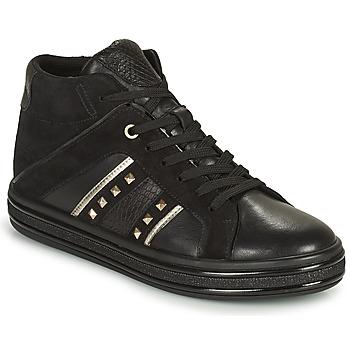 Chaussures Femme Baskets montantes Geox LEELU Noir / Argenté
