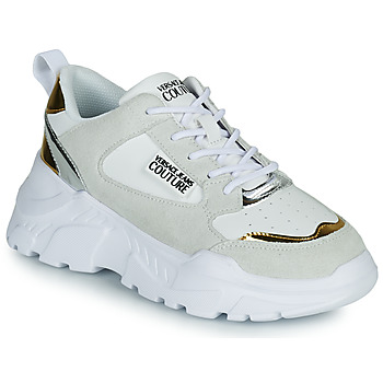 Chaussures Femme Baskets basses Versace Jeans Couture FREMMI Blanc / Or / Argent