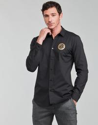 Vêtements Homme Chemises manches longues Versace Jeans Couture SLIM PRINT V EMBLEM GOLD Noir / Doré