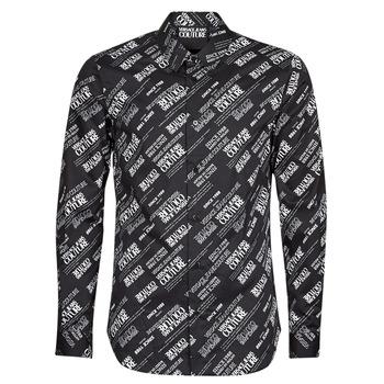 Vêtements Homme Chemises manches longues Versace Jeans Couture SLIM PRINT WARRANTY Noir / Blanc