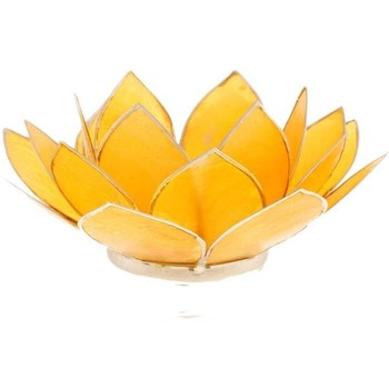 Maison & Déco Bougeoirs, photophores Zen Et Ethnique Porte Bougie Fleur de Lotus jaune et argent 3 ème chakra Jaune