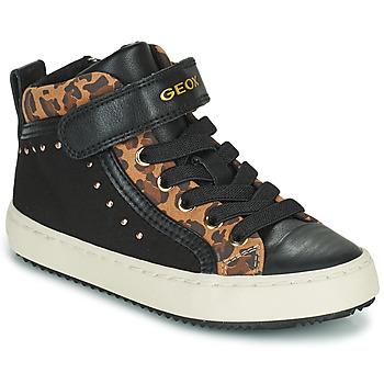 Chaussures Fille Baskets montantes Geox KALISPERA Noir / Léopard