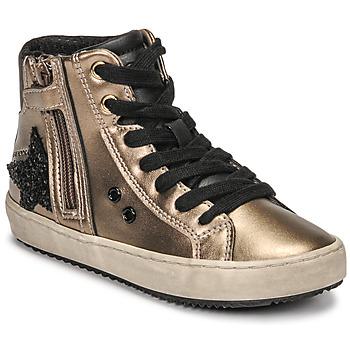 Chaussures Fille Baskets montantes Geox KALISPERA Doré / Noir
