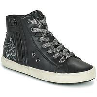 Chaussures Fille Baskets montantes Geox KALISPERA Noir / Argent