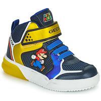 Chaussures Garçon Baskets montantes Geox GRAYJAY Bleu / Jaune