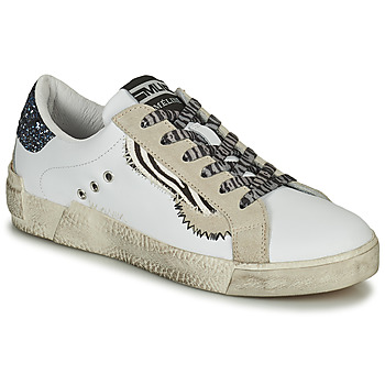 Chaussures Femme Baskets basses Meline NK139 Blanc / Glitter bleu
