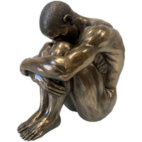 Maison & Déco Statuettes et figurines Retro Statuette Véronèse en résine - Homme Nu assis 17 cm Doré