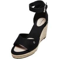 Chaussures Femme Sandales et Nu-pieds Pepe jeans Compensées en toile  Maida Bass Ref 53030 Black Noir