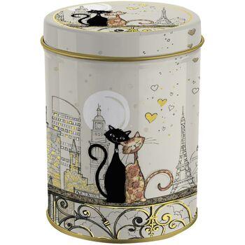 Maison & Déco Paniers, boites et corbeilles Le Monde Des Animaux AMYS BUG ART Boite métal ronde Chats Amoureux Beige