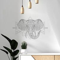 Maison & Déco Stickers Le Monde Des Animaux BOHO ELEPHANT -Décoration adhésive murale Gris