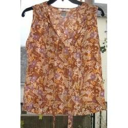 Vêtements Femme Tops / Blouses Sans marque Top en soie imprimé fleuri Marron