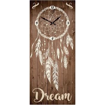 Maison & Déco Horloges Indiens D'amérique Grande Pendule rectangulaire Boho 70 cm Marron
