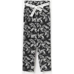 Vêtements Fille Pantalons fluides / Sarouels Little Cerise Pantalon à motif floral anngi noir BLACK