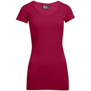Vêtements Femme T-shirts manches courtes Promodoro T-shirt long col V slim grande taille Femmes promotion rouge cerise