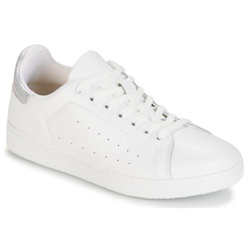 Chaussures Femme Baskets basses Yurban SATURNA Blanc / Argenté