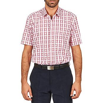 Vêtements Homme Chemises manches courtes Pierre Cardin CH MC CARREAU GRAPHIQUE Blanc / Rouge