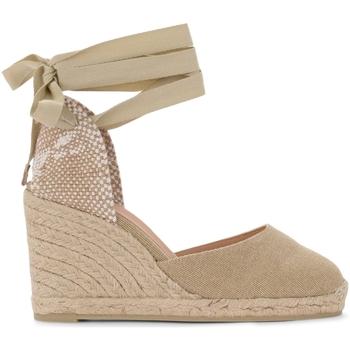 Chaussures Femme Escarpins Castaner Sandale à talon compensé Carina en toile et tissu couleur Beige