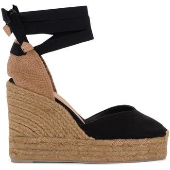 Chaussures Femme Sandales et Nu-pieds Castaner Sandale à talon compensé Chiara en toile et tissu noir Noir