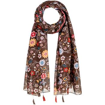 Accessoires textile Femme Echarpes / Etoles / Foulards Allée Du Foulard Foulard fantaisie Peace Marron