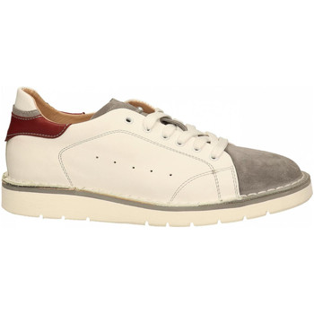 Chaussures Homme Baskets basses Café Noir DERBY IDEAL IN PELLE BICOLOR w027-bianco-grigio