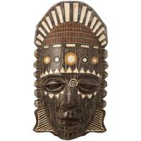 Maison & Déco Statuettes et figurines Zen Et Ethnique Décoration à poser masque ethnique aspect bois Marron