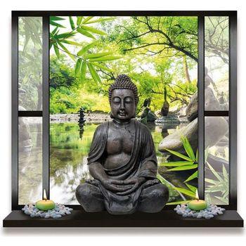 Maison & Déco Stickers Zen Et Ethnique Sticker Mural Jardin et Bouddha Trompe l'œil Vert