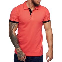 Vêtements Homme Polos manches courtes Monsieurmode Polo tendance homme Polo 1402 rose saumon Rose