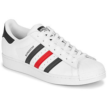 Chaussures Baskets basses adidas Originals SUPERSTAR Blanc / Bleu / Rouge