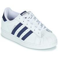 Chaussures Enfant Baskets basses adidas Originals SUPERSTAR C Blanc / Bleu