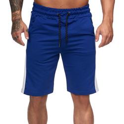 Vêtements Homme Shorts / Bermudas Monsieurmode Short homme avec bandes Short 1400 bleu roi Bleu