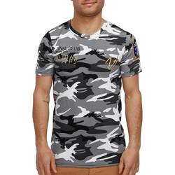 Vêtements Homme T-shirts manches courtes Monsieurmode T-shirt homme camouflage T-shirt 3713 blanc Blanc
