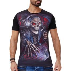 Vêtements Homme T-shirts manches courtes Monsieurmode T-shirt fashion tête de mort T-shirt 1584 noir Noir